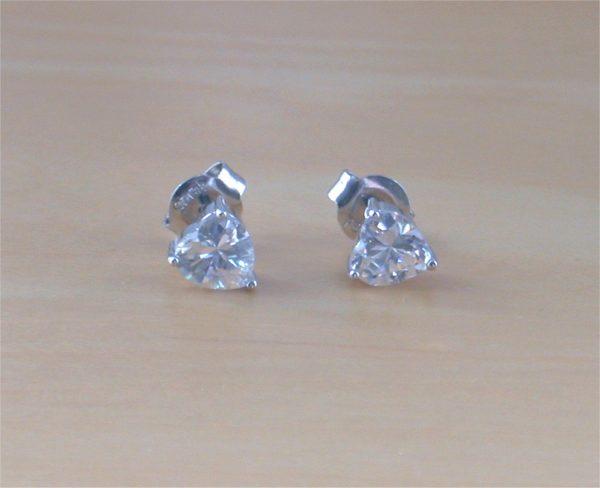 cz heart earrings