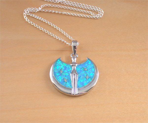 blue opal goddess pendant