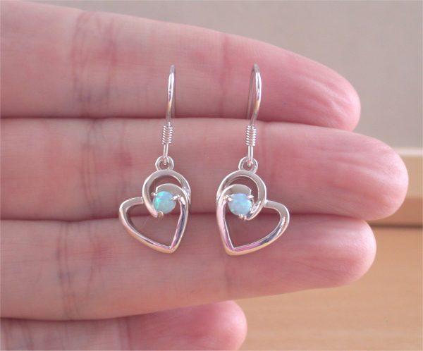 blue opal heart earrings