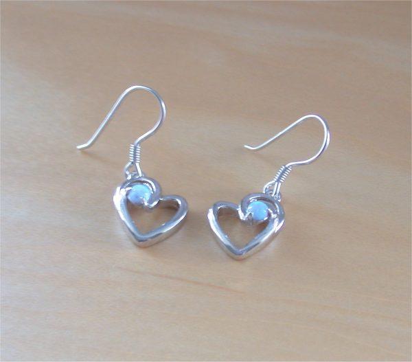 silver opal heart earrings