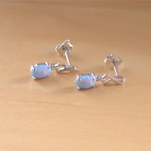 silver blue opal earrings