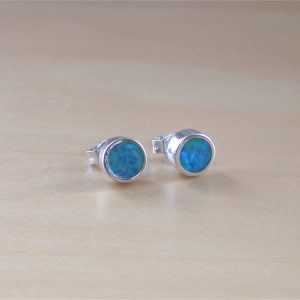 blue opal stud earrings