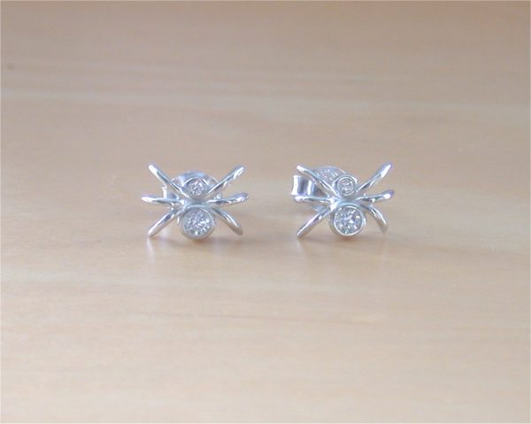 silver spider earrings