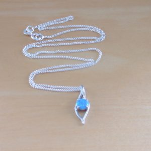 silver blue opal necklace