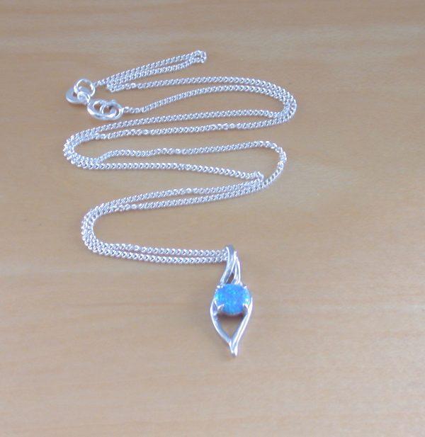 silver blue opal necklace