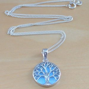 blue opal tree of life necklace