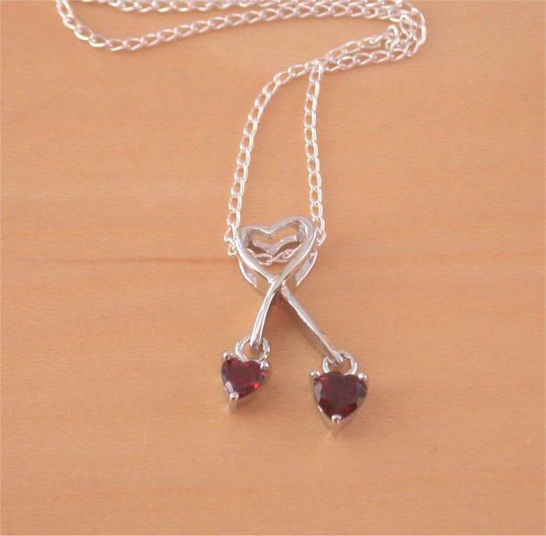 garnet heart necklace uk