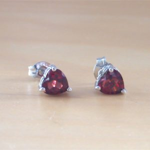 garnet heart earrings uk