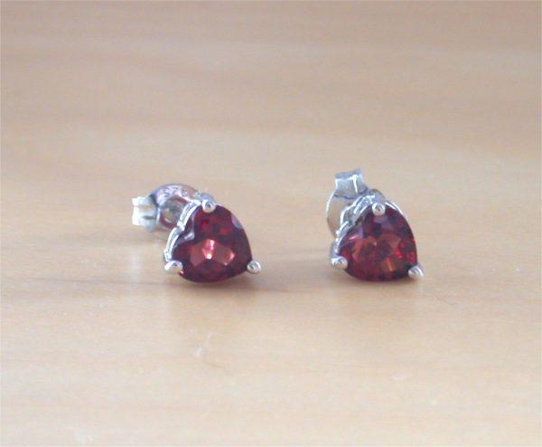 garnet heart earrings uk