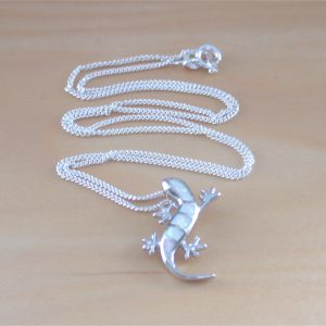 silver opal gecko necklace
