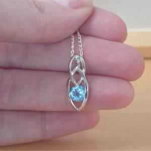 blue topaz Celtic pendant
