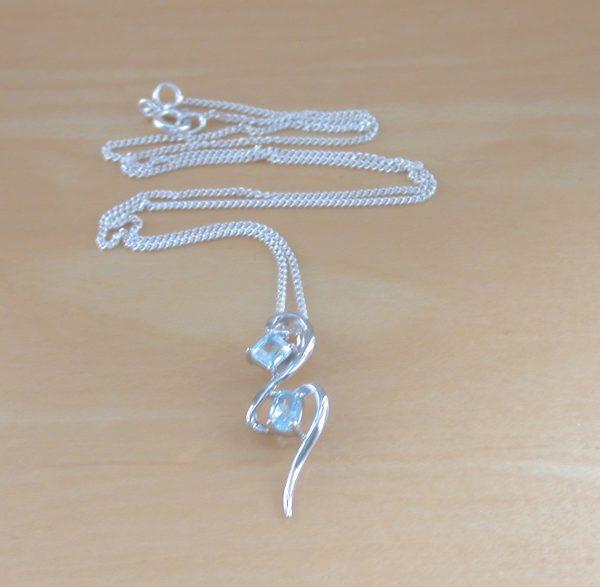 silver blue topaz pendant