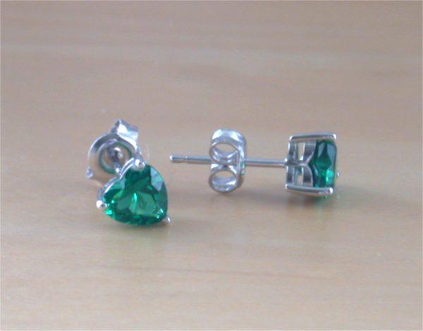 silver emerald stud earrings