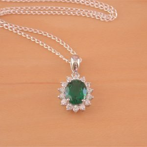 silver emerald necklace uk