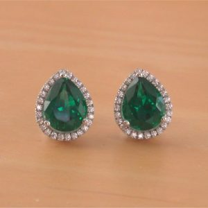 silver emerald gemstone earrings