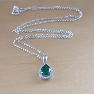 emerald & cz necklace uk