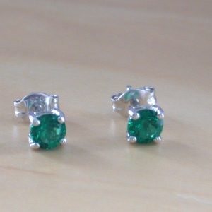 silver emerald stud earrings