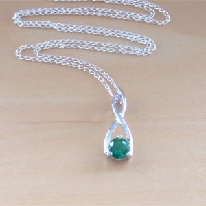 siver emerald necklace