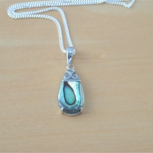 silver paua shell necklace