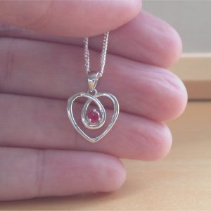 silver ruby heart necklace