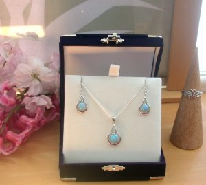 blue opal necklace set