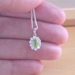 silver peridot pendant