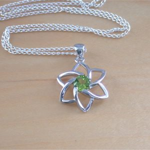 peridot flower pendant uk