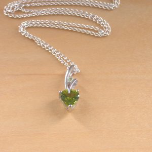 silver peridot heart necklace