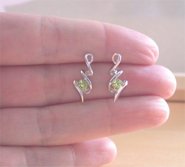 silver peridot gemstone studs