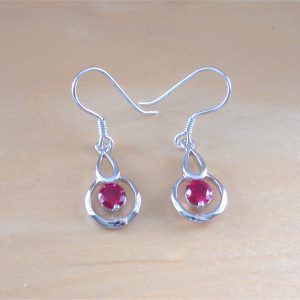 silver ruby drop earrings