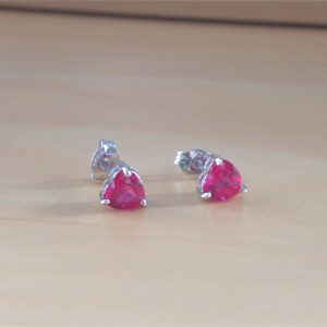 silver ruby heart earrings