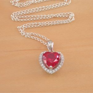 silver ruby heart necklace uk