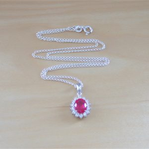 silver ruby necklace uk