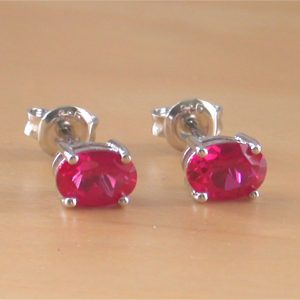 ruby oval stud earrings