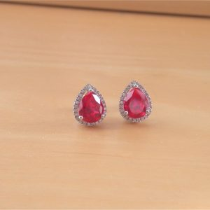 silver ruby stud earrings
