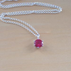 silver ruby solitaire pendant