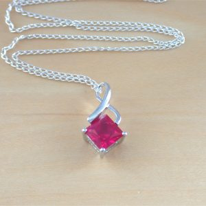silver ruby necklace