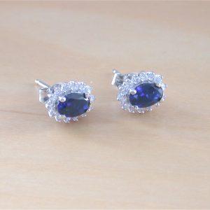sapphire & cz earrings