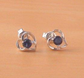 silver sapphire heart earrings