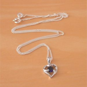 silver sapphire heart necklace