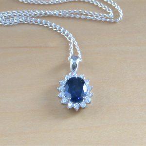 sapphire & cz necklace