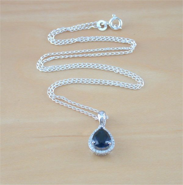 silver sapphire necklace