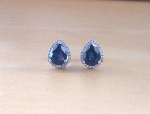 silver sapphire earrings uk