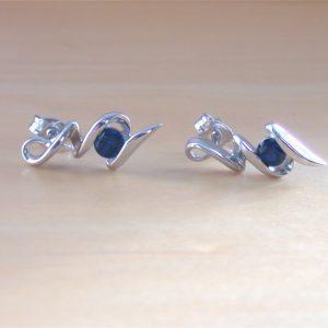 silver sapphire stud earrings