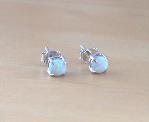 opal stud earrings, opal earrings, silver opal earrings