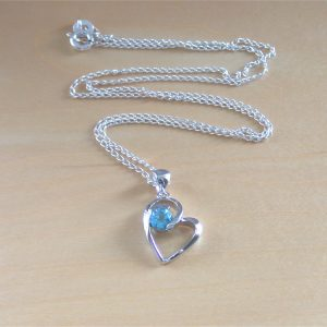 silver topaz heart necklace