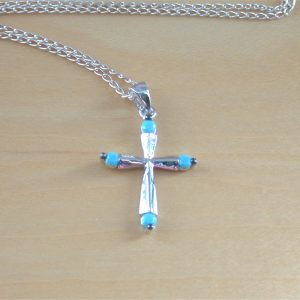 silver turquoise cross pendant