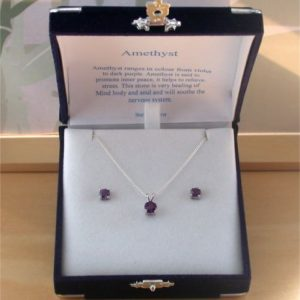 Amethyst Necklace & Earring Gift Set