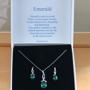 Emerald Gemstone Necklace & Earrings