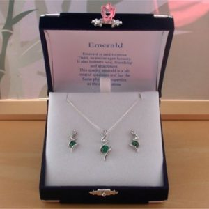 silver emerald necklace and earring set